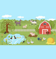 farm animals cute cartoon characters on summer vector image vector image