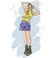 fashion sketch with young woman in skirt vector image vector image