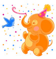 festive joyful cute elephant and the bird are vector image vector image