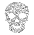 floral skull on white background vector image vector image