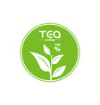 green tea leaf logo isolated on white background vector image vector image
