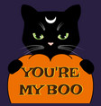 halloween card with black cat and carved pumpkin vector image