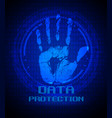 handprint and data protection on digital screen vector image