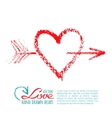 Handwritten lipstick heart and arrow vector image vector image