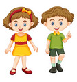 happy boy and girl standing vector image vector image