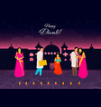 happy diwalihappy diwali traditional indian vector image vector image