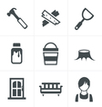 Icons set carpentry vector image