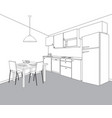 interior of kitchen room kitchen outline vector image