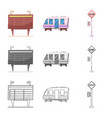 isolated object of train and station icon set of vector image vector image