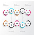 journey icons line style set with mountains vector image vector image