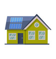 modern green eco house with solar panels flat vector image