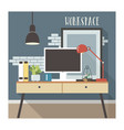 modern workplace interior in loft style vector image vector image