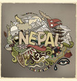 nepal country hand lettering and doodles elements vector image
