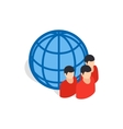 Planet and people icon isometric 3d style vector image vector image