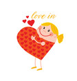 pregnant mother in love in heart shape vector image vector image