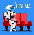 robot sits on chair in cinema in 3d glasses and vector image