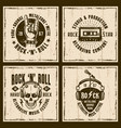rock and roll music four vintage style emblems vector image vector image