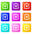 royal shield icons set 9 color collection vector image vector image