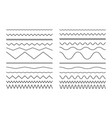 set seamless wavy line and wavy zigzag lines vector image