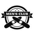 smoking men club logo simple style vector image