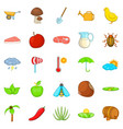 steading icons set cartoon style vector image vector image