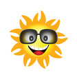 sun face with sunglasses one vector image vector image