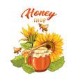 sunflower honey shop flat banner template vector image vector image