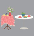 tables set with cups dishes and flowers vector image vector image