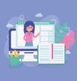 teacher laptop website school education online vector image