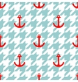 Tile sailor pattern with red anchor on houndstooth vector image vector image