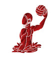 water polo player cartoon graphic vector image vector image