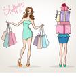 shopoholic shopping girls fashion sale vector image