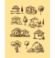 village houses Sketch style vector image