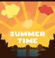 beautiful orange sunset summer time vector image