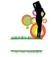 beauty girl on the grass photo two vector image vector image
