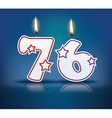Birthday candle number 76 vector image vector image