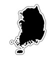 black silhouette of the country south korea with vector image