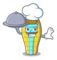 chef with food sleeping bad mascot cartoon vector image