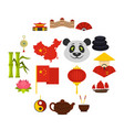 china travel symbols icons set in flat style vector image vector image