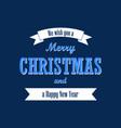 christmas text white ribbon merry christmas and vector image vector image