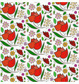 colorful flowers pattern with big roses and leaves vector image vector image