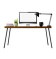 computer desk on a white background vector image