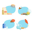 cooking ingridients or groceries stickers vector image vector image