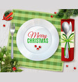 Cristmas Dinner Cutlery Realistic Composition vector image
