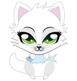 Cute little white kitten vector image
