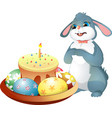 easter bunny and easter cake with candle vector image