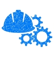 Engineering Helmet And Gears Grainy Texture Icon vector image vector image