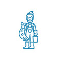 fisherman with catch linear icon concept vector image