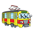 funny small tram or tramway with eyes vector image