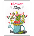 garden template with flowers and watering can vector image vector image